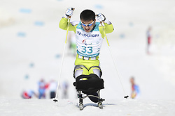 March 14, 2018 - Pyeongchang, GANGWON, SOUTH KOREA - March 14, 2018-Pyeongchang, South Korea- KIM Jong Hyon of North Korea action on the slope during an 2018 winter Paralympic Cross-Country Men's 1.1Km Sprint ,Sitting at Alpensia Biathlon Center in Pyeongchang, South Korea. (Credit Image: © Gmc via ZUMA Wire)