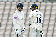 James Vince of Hampshire and Aiden Markram of Hampshire during the first day of the Specsavers County Champ Div 1 match between Hampshire County Cricket Club and Essex County Cricket Club at the Ageas Bowl, Southampton, United Kingdom on 5 April 2019.