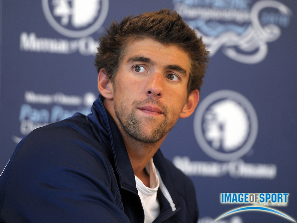Aug 16, 2010; Irvine, CA, USA; Michael Phelps at the 2010 Pan Pacific swimming championships press conference at the William at Woollett Jr. Aquatics Center. Photo by Image of Sport