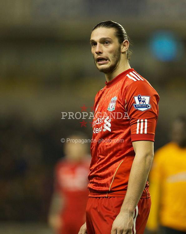 WOLVERHAMPTON, ENGLAND - Tuesday, January 31, 2012: Liverpool's Andy Carroll in action against Wolverhampton Wanderers during the Premiership match at Molineux. (Pic by David Rawcliffe/Propaganda)