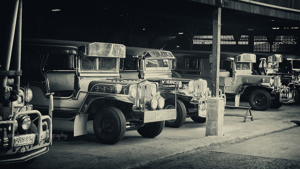 Jeeps parked in the old Sarao Jeepney factory