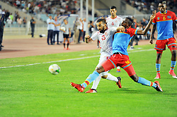 September 1, 2017 - Tunis, Tunisia - Naim Sliti(23) of Tunisia and Bokadi Merveille(18)of Congo  during the qualifying match for the World Cup Russia 2018 between Tunisia and the Democratic Republic of Congo (RD Congo) at the Rades stadium in Tunis. (Credit Image: © Chokri Mahjoub via ZUMA Wire)