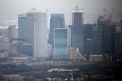 UK LONDON 23MAR19 - Aerial view of Canary Wharf and tall buildings in the Docklands.<br /> <br /> <br /> <br /> jre/Photo by Jiri Rezac/ Led By Donkeys
