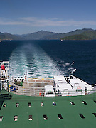 View looking southward over the stern from the top deck of an Interislander Ferry, heading from Picton to Wellington.