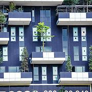 Milano / Italia 2013. Bosco verticale torri residenziali disegnate da Boeri Studio facenti parte del Progetto Porta Nuova inserito nel centro Direzionale di Milano. La peculiarità di queste costruzioni sarà la presenza rispettivamente di oltre 900 specie arboree (550 alberi nella prima torre e 350 nella seconda, circa) sugli 8 900 m² di terrazze
