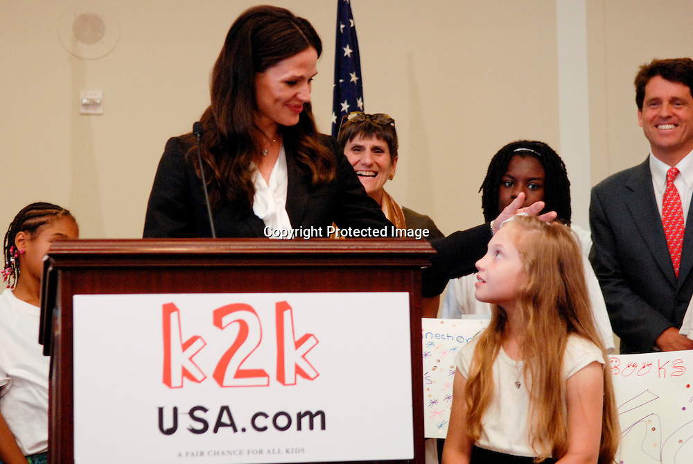 Mark Shriver, Senior Vice President of US Programs for the charity Save the Children, and actress Jennifer Garner hold a press conference and meet with members of the house and senate to discuss education issues of rural children in the United States  as part of a Save the Children foundation program at the U.S. Capitol in Washington DC on June 24, 2010. Photo by Kris Connor