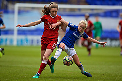 BIRKENHEAD, ENGLAND - Sunday, April 29, 2018: Liverpool's Niamh Charles (left) and Everton's Faye Bryson during the FA Women's Super League 1 match between Liverpool FC Ladies and Everton FC Ladies at Prenton Park. (Pic by David Rawcliffe/Propaganda)