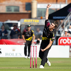 Somerset's Jamie Overton<br /> <br /> Photographer Simon King/Replay Images<br /> <br /> Vitality Blast T20 - Round 1 - Somerset v Gloucestershire - Friday 6th July 2018 - Cooper Associates County Ground - Taunton<br /> <br /> World Copyright © Replay Images . All rights reserved. info@replayimages.co.uk - http://replayimages.co.uk