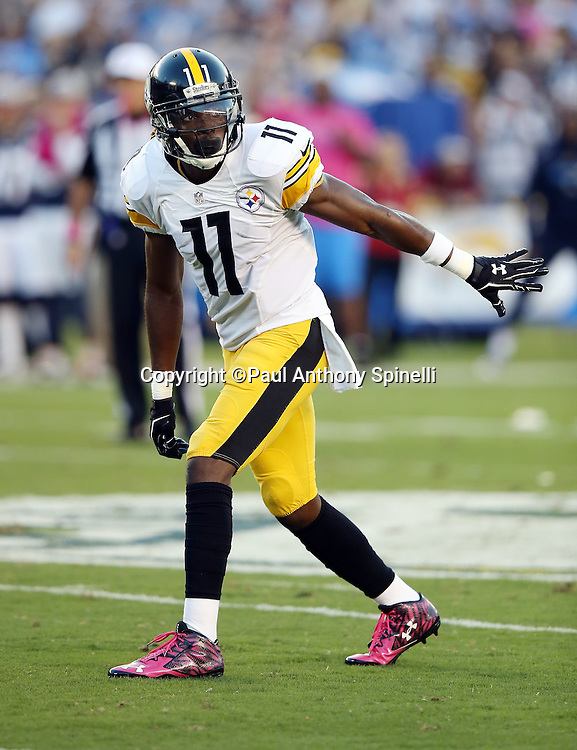 Pittsburgh Steelers wide receiver Markus Wheaton (11) points while getting set to go out for a pass during the 2015 NFL week 5 regular season football game against the San Diego Chargers on Monday, Oct. 12, 2015 in San Diego. The Steelers won the game 24-20. (©Paul Anthony Spinelli)