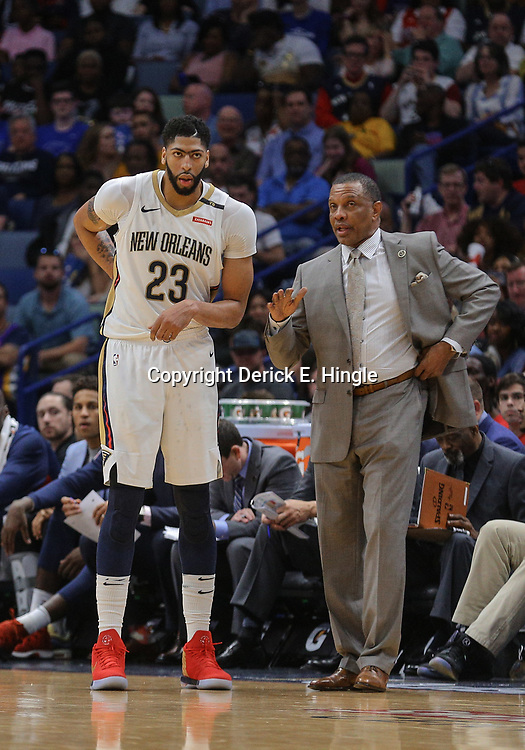 Apr 1, 2018; New Orleans, LA, USA; New Orleans Pelicans forward Anthony Davis (23) and head coach Alvin Gentry during the second quarter against the Oklahoma City Thunder at the Smoothie King Center. Mandatory Credit: Derick E. Hingle-USA TODAY Sports