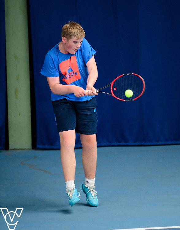 Glanville Cup - Aylesbury Grammar School - James Weller<br /> <br /> Team Tennis Schools National Championships Finals 2017 held at Nottingham Tennis Centre.  <br /> <br /> Picture: Chris Vaughan Photography for the LTA<br /> Date: July 14, 2017