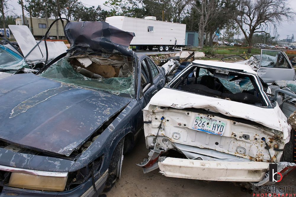 KEVIN BARTRAM/The Daily News.Damaged cars surround temporary FEMA housing in Biloxi, Miss. on Wednesday, May 10, 2006, nine months after Hurricane Katrina hit the Mississippi coast.