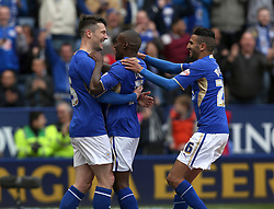 Leicester City's David Nugent celebrates scoring the first goal  - Photo mandatory by-line: Matt Bunn/JMP - Tel: Mobile: 07966 386802 -19/04/2014 - SPORT - FOOTBALL - King Power Stadium- Leicester - Leicester City v Queens Park Rangers- Sky Bet Championship