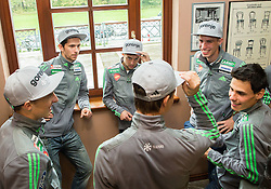 Men Ski jumping team during official presentation of the outfits of the Slovenian Ski Teams before new season 2015/16, on October 6, 2015 in Kulinarika Jezersek, Sora, Slovenia. Photo by Vid Ponikvar / Sportida