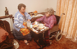 Carer with elderly woman; who is wheelchair user; having breakfast,