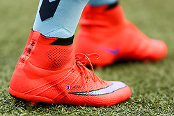 The personalised Nike boots of Manchester City's Bacary Sagna  - Photo mandatory by-line: Matt McNulty/JMP - Mobile: 07966 386802 - 25/04/2015 - SPORT - Football - Manchester - Etihad Stadium - Manchester City v Aston Villa - Barclays Premier League