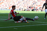 Football - 2017 / 2018 Premier League - Southampton vs. Manchester United<br /> <br /> Marcus Rashford of Manchester United gets a block on a cross from Southampton's Cedric Soares at St Mary's Stadium Southampton<br /> <br /> COLORSPORT/SHAUN BOGGUST