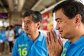 Former Prime Minister Abhisit Vejjajiva Campaigns on the Skytrain