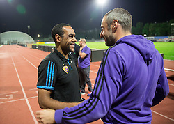 Marcos Tavares #9 of Maribor and Mitja Vidrih of Maribor after the football match between ND Gorica and NK Maribor in 9th Round of Prva liga Telekom Slovenije 2015/16, on September 12, 2015, in Sports centrum Nova Gorica, Slovenia. Photo by Vid Ponikvar / Sportida