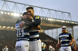 Matt Banahan of Bath Rugby congratulates team-mate Anthony Watson on his try - Mandatory byline: Patrick Khachfe/JMP - 07966 386802 - 29/11/2015 - RUGBY UNION - Welford Road - Leicester, England - Leicester Tigers v Bath Rugby - Aviva Premiership.andatory byline: Patrick Khachfe/JMP - 07966 386802 - 29/11/2015 - RUGBY UNION - Welford Road - Leicester, England - Leicester Tigers v Bath Rugby - Aviva Premiership.