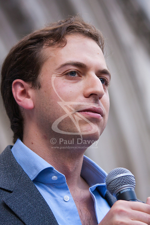 "Royal Courts of Justice, London,  August 31st 2014. Organiser Gideon Falter from the Campaign against Antisemitism speaks as thousands of Jews and their supporters from London and across the UK demand ""Zero Tolerance for Antisemites""."