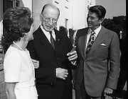 President DeValera Welcomes Governor Reagan..1972..18.07.1972..07.18.1972..18th July 1972..On his visit to Ireland,Governor Ronald Reagan of California,was greeted at Áras an Uachtaráin by the President, Mr Eamon DeValera. Governor Reagan was accompanied by his wife Nancy...Pictured on the steps of Áras an Uachtaráin are Ms Nancy Reagan,.President Eamon Devalera and Governor Ronald Reagan. The Reagans made a courtesy call as part of their visit to Ireland.
