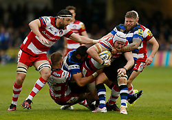 Gloucester's Ben Morgan and Bath's Chris Brooker during the Aviva Premiership match at the Recreation Ground, Bath.