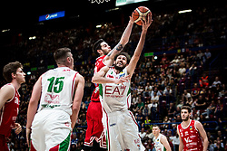 April 29, 2018 - Milan, Milan, Italy - Davide Pascolo (#7 EA7 Emporio Armani Milano) shoots a layup during a basketball game of Poste Mobile Lega Basket A between  EA7 Emporio Armani Milano vs VL Pesaro at Mediolanum Forum, in Milan, Italy, on April 29, 2018. (Credit Image: © Roberto Finizio/NurPhoto via ZUMA Press)