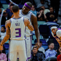 Jan 30, 2018; New Orleans, LA, USA; Sacramento Kings forward Zach Randolph (50) celebrates with guard George Hill (3) as New Orleans Pelicans forward Anthony Davis (23) looks on during the fourth quarter at the Smoothie King Center. The Kings defeated the Pelicans 114-103. Mandatory Credit: Derick E. Hingle-USA TODAY Sports