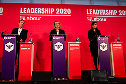 © Licensed to London News Pictures. 16/02/2020. London, UK. Labour leadership candidates Labour leadership candidates KEIR STARMER MP for Holborn and St Pancras and Shadow Secretary of State for Exiting the European Union, REBECCA LONG-BAILEY MP for Salford and Eccles and Shadow Secretary of State for Business, Energy and Industrial Strategy and LISA NANDY MP for Wigan (L to R) at a hustings event hosted by the Co-operative Party held at Business Design Centre, north London. Photo credit: Dinendra Haria/LNP