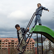 Sarajevo's serbian population lives in the eastern part of the city in the area called Republic Srpska. This part is noticebly poorer. Children playing outside a Save the Children creque aimed at those with psychological or physical disabilities.