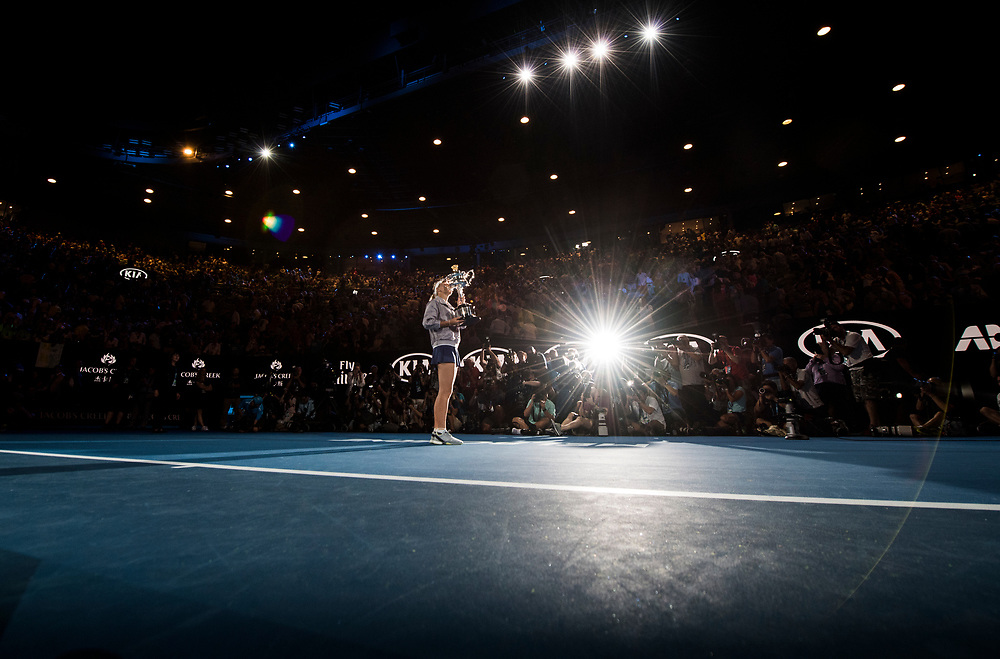 Caroline Wozniacki of Denmark during the trophy presentation of the women's singles championship match during the 2018 Australian Open on day 13 in Melbourne, Australia on Saturday night January 27, 2018.<br /> (Ben Solomon/Tennis Australia)