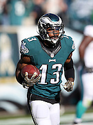 Philadelphia Eagles wide receiver Josh Huff (13) runs with the ball after catching a first quarter touchdown pass that gives the Eagles a 7-3 lead during the 2015 week 10 regular season NFL football game against the Miami Dolphins on Sunday, Nov. 15, 2015 in Philadelphia. The Dolphins won the game 20-19. (©Paul Anthony Spinelli)