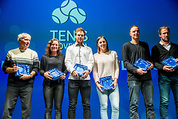 Ivo, Tamara Zidansek, Blaz Kavcic, Andreja Klepac, Marino Kegl and Grega Zemlja during Slovenian Tennis personality of the year 2017 annual awards presented by Slovene Tennis Association Tenis Slovenija, on November 29, 2017 in Siti Teater, Ljubljana, Slovenia. Photo by Vid Ponikvar / Sportida