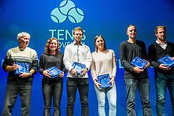 Ivo, Tamara Zidansek, Blaz Kavcic, Andreja Klepac, Marino Kegl and Grega Zemlja during Slovenian Tennis personality of the year 2017 annual awards presented by Slovene Tennis Association Tenis Slovenija, on November 29, 2017 in Siti Teater, Ljubljana, Slovenia. Photo by Vid Ponikvar / Sportida