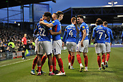 Portsmouth's Ellis Harrison (22) celebrates his goal during the EFL Sky Bet League 1 match between Portsmouth and Peterborough United at Fratton Park, Portsmouth, England on 7 December 2019.