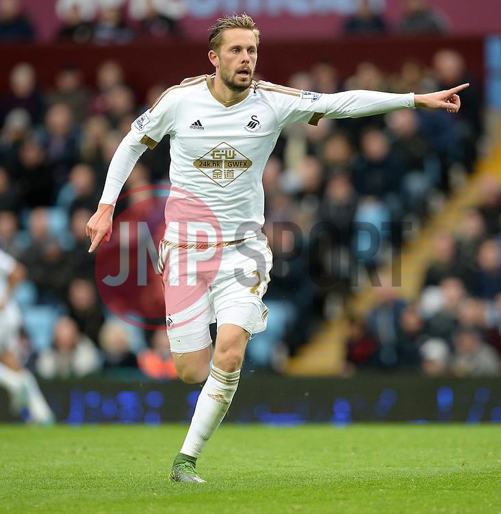 Gylfi Sigurdhsson of Swansea City - Mandatory byline: Alex James/JMP - 07966 386802 - 24/10/2015 - FOOTBALL - Villa Park - Birmingham, England - Aston Villa v Swansea City - Barclays Premier League