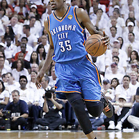 21 June 2012: Oklahoma City Thunder small forward Kevin Durant (35) brings the ball upcourt during the Miami Heat 121-106 victory over the Oklahoma City Thunder, in Game 5 of the 2012 NBA Finals, at the AmericanAirlinesArena, Miami, Florida, USA. The Miami Heat wins the series 4-1.