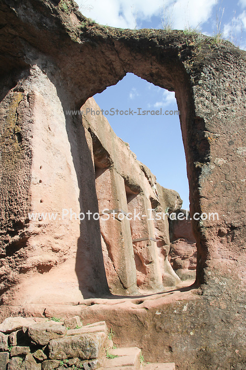 Interior of the Bet Gabriel Rufael (House of Gabriel and Raphael) a monolithic church carved from solid rock in Lalibela, Ethiopia