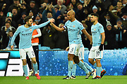 Goal - Vincent Kompany (4) of Manchester City celebrates scoring a goal to give a 0-2 lead during the EFL Cup Final match between Arsenal and Manchester City at Wembley Stadium, London, England on 25 February 2018. Picture by Graham Hunt.