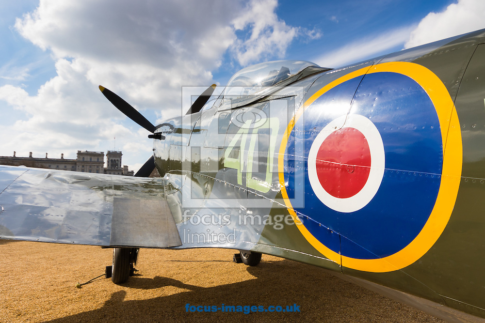 A spitfire Mk XVI, nose pointed at the sky, appears ready to take flight as the Royal Air Force Museum promotes the forthcoming 100th anniversary of the Royal Air Force in 2018 with a static display of warplanes in Horseguards Parade, Westminster.<br /> Picture by Paul Davey/Focus Images Ltd +447966 016296<br /> 31/03/2016