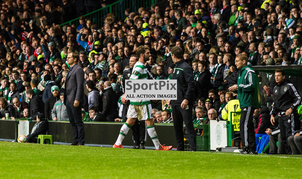 Charlie Mulgrew walks off the pitch after Ajax score<br />