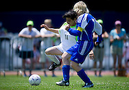 Female's football match 7-a-side between SO Finland and SO Azerbaijan during 2011 Special Olympics World Summer Games Athens on June 26, 2011..The idea of Special Olympics is that, with appropriate motivation and guidance, each person with intellectual disabilities can train, enjoy and benefit from participation in individual and team competitions...Greece, Athens, June 26, 2011...Picture also available in RAW (NEF) or TIFF format on special request...For editorial use only. Any commercial or promotional use requires permission...Mandatory credit: Photo by © Adam Nurkiewicz / Mediasport