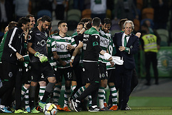 April 18, 2018 - Lisbon, Portugal - Sporting team celebrate their victory at the end of  Portuguese Cup 2017/18 match between Sporting CP vs FC Porto, in Lisbon, on April 18, 2018. (Credit Image: © Carlos Palma/NurPhoto via ZUMA Press)