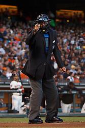 August 1, 2011; San Francisco, CA, USA;  MLB umpire Tony Randazzo (11) calls a strike during the third inning between the San Francisco Giants and the Arizona Diamondbacks at AT&T Park. Arizona defeated San Francisco 5-2.
