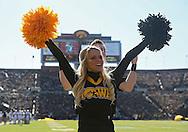 November 10 2012: An Iowa Hawkeyes cheerleader celebrates a score during the NCAA football game between the Purdue Boilermakers and the Iowa Hawkeyes at Kinnick Stadium in Iowa City, Iowa on Saturday, November 10, 2012. Purdue defeated Iowa 27-24.