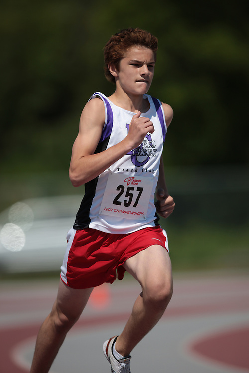 London, Ontario ---14/06/09---  Scott Buttinger of Laurel Creek T.F.C. competes in the  2009 AO Ontario Junior Championships at TD Waterhouse stadium in London, Ontario, June 13, 2009..GEOFF ROBINS Mundo Sport Images