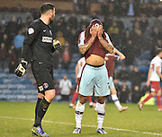 Burnley Forward, Andre Gray cant believe his shot has gone over the bar during the Sky Bet Championship match between Burnley and Charlton Athletic at Turf Moor, Burnley, England on 19 December 2015. Photo by Mark Pollitt.