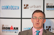 Hugh Delahunty MP (Victorian Minister For Sport, Recreation And Veterans' Affairs). Ironman Melbourne Triathlon Press Launch 2013. Etihad Stadium, Melbourne, Victoria, Australia. 25/02/2013. Photo By Lucas Wroe