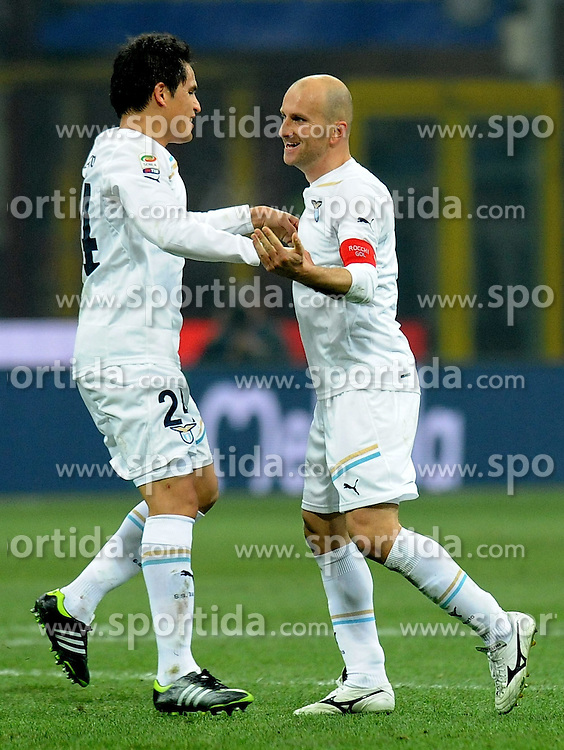 22.01.2012, Stadion Giuseppe Meazza, Mailand, ITA, Serie A, Inter Mailand vs Lazio Rom, 19. Spieltag, im Bild esultanza dopo il gol di Tommaso ROCCHI (Lazio) goal celebration, the football match of Italian 'Serie A' league, 19th round, between Inter Mailand and Lazio Rom at Stadium Giuseppe Meazza, Milan, Italy on 2012/01/22. EXPA Pictures © 2012, PhotoCredit: EXPA/ Insidefoto/ Alessandro Sabattini..***** ATTENTION - for AUT, SLO, CRO, SRB, SUI and SWE only *****